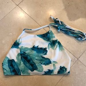Tropical laced back halter crop top